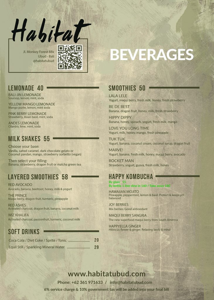 Habitat Beverages Menu Page 2