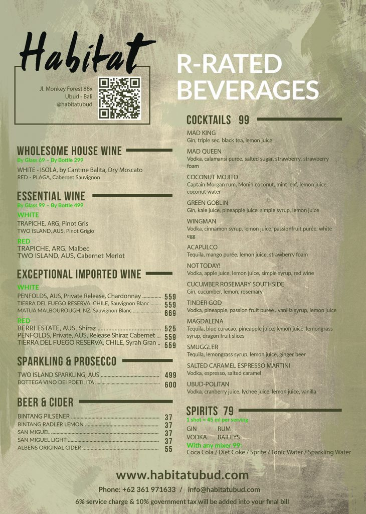 Habitat Alcohol Drinks Menu