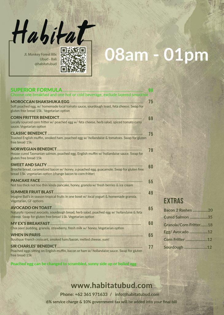 Habitat Ubud Breakfast Menu