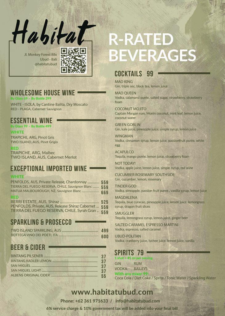 Habitat Alcohol Drinks Menu